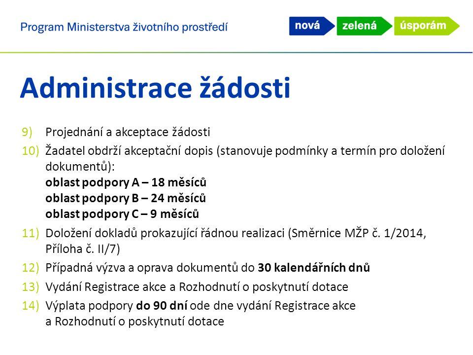 9)Projednání a akceptace žádosti 10)Žadatel obdrží akceptační dopis (stanovuje podmínky a termín pro doložení dokumentů): oblast podpory A – 18 měsíců