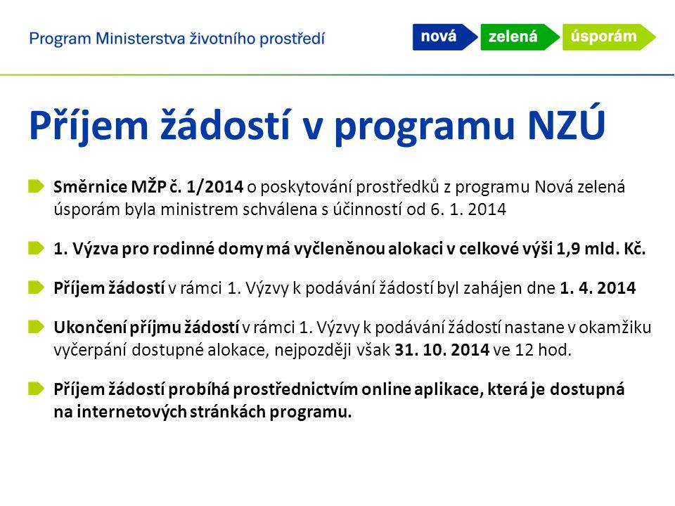 Příjem žádostí v programu NZÚ Směrnice MŽP č. 1/2014 o poskytování prostředků z programu Nová zelená úsporám byla ministrem schválena s účinností od 6