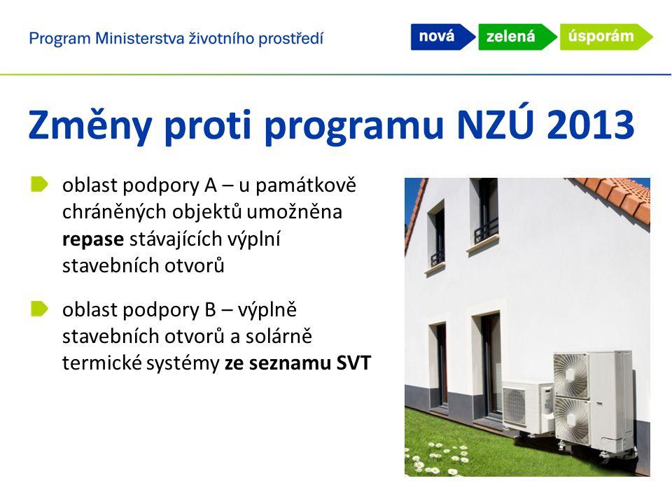 oblast podpory A – u památkově chráněných objektů umožněna repase stávajících výplní stavebních otvorů oblast podpory B – výplně stavebních otvorů a solárně termické systémy ze seznamu SVT Změny proti programu NZÚ 2013