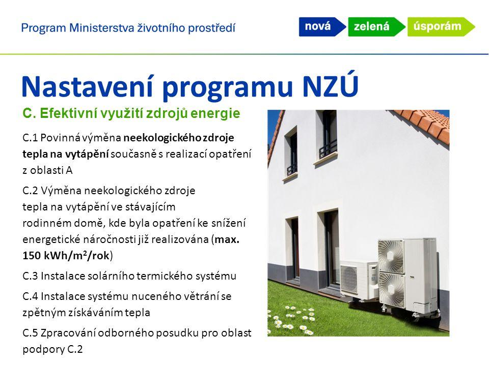 Nastavení programu NZÚ C. Efektivní využití zdrojů energie C.1 Povinná výměna neekologického zdroje tepla na vytápění současně s realizací opatření z