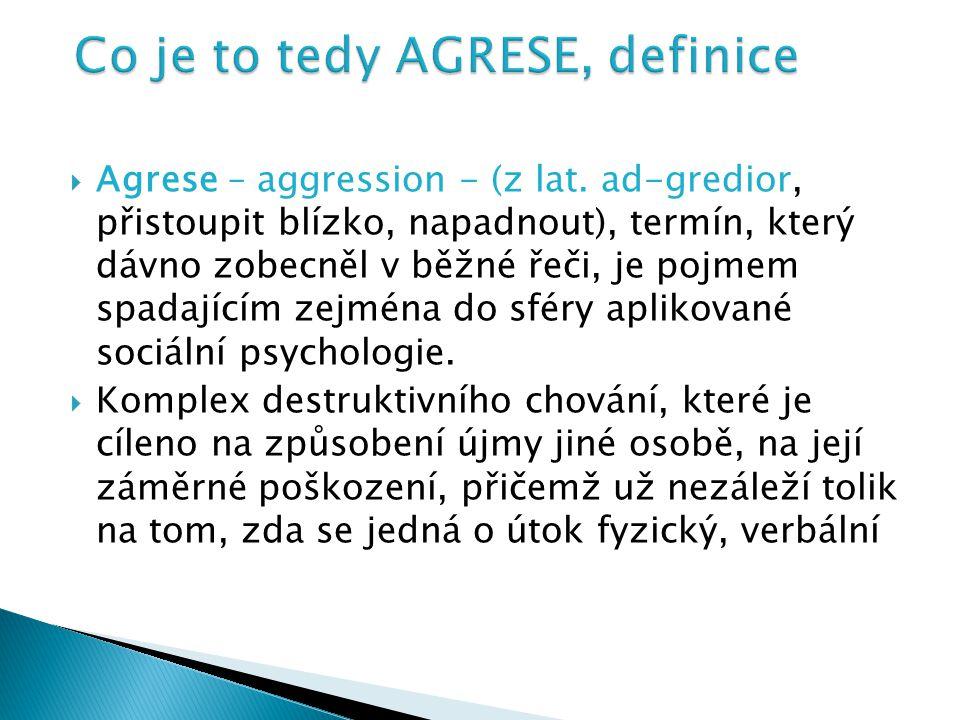  Agrese – aggression - (z lat. ad-gredior, přistoupit blízko, napadnout), termín, který dávno zobecněl v běžné řeči, je pojmem spadajícím zejména do