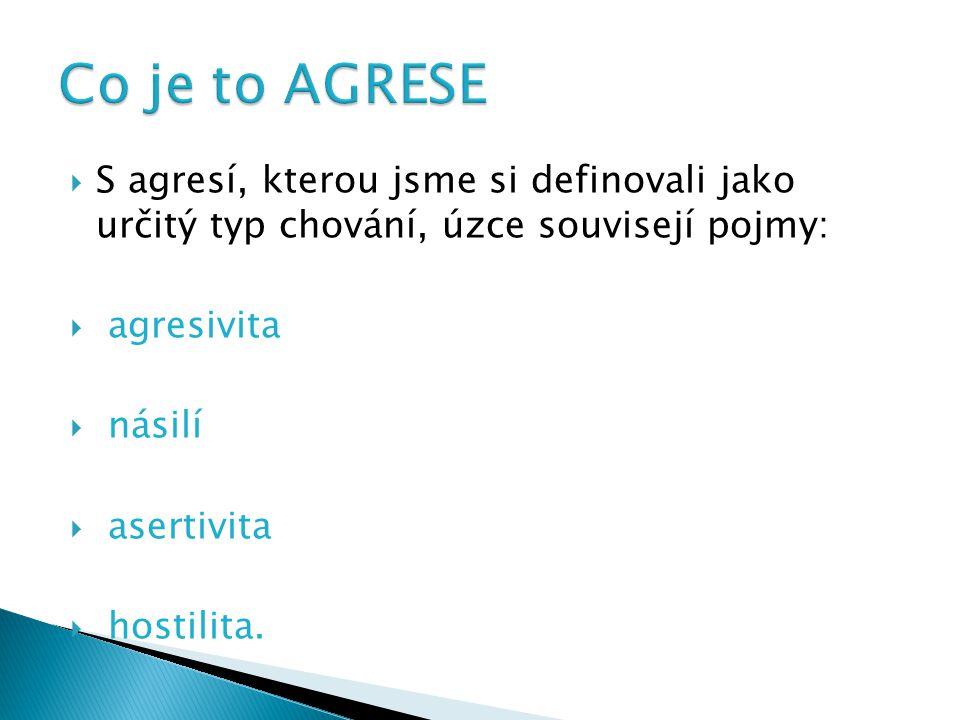  S agresí, kterou jsme si definovali jako určitý typ chování, úzce souvisejí pojmy:  agresivita  násilí  asertivita  hostilita.