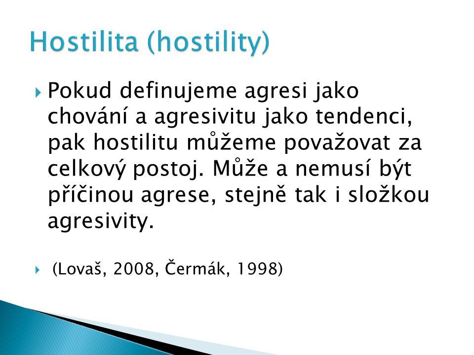 Pokud definujeme agresi jako chování a agresivitu jako tendenci, pak hostilitu můžeme považovat za celkový postoj.