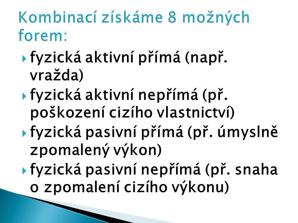  fyzická aktivní přímá (např.vražda)  fyzická aktivní nepřímá (př.