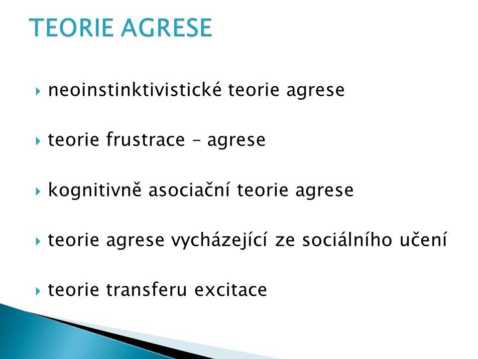  neoinstinktivistické teorie agrese  teorie frustrace – agrese  kognitivně asociační teorie agrese  teorie agrese vycházející ze sociálního učení  teorie transferu excitace