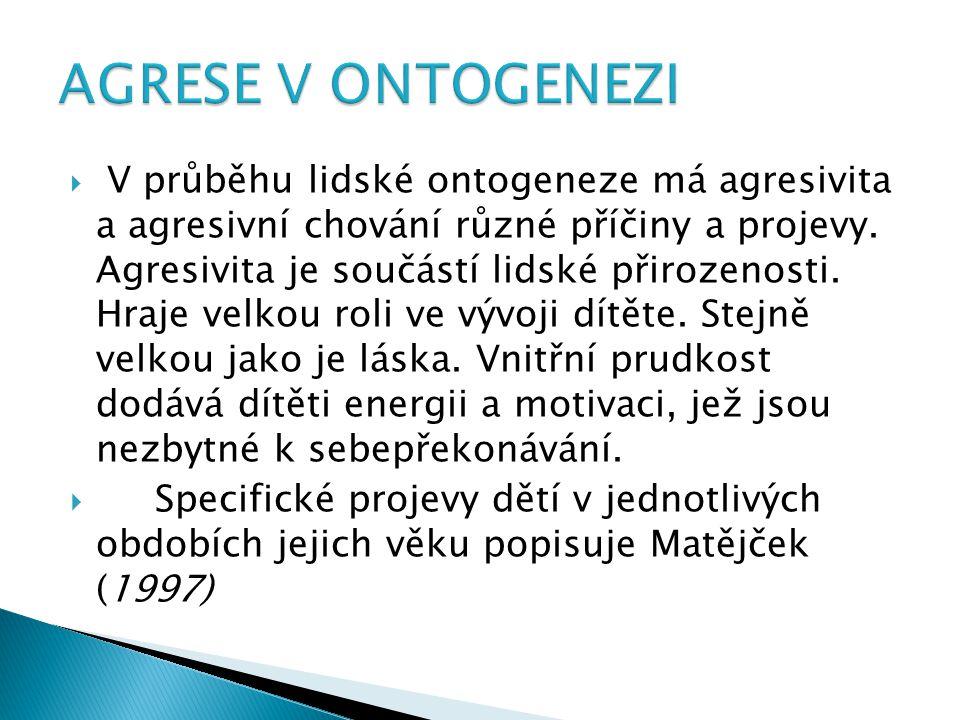  V průběhu lidské ontogeneze má agresivita a agresivní chování různé příčiny a projevy.