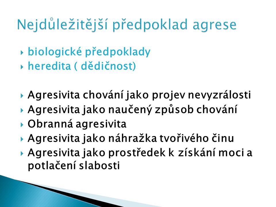  biologické předpoklady  heredita ( dědičnost)  Agresivita chování jako projev nevyzrálosti  Agresivita jako naučený způsob chování  Obranná agre