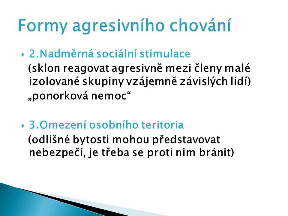 """ 2.Nadměrná sociální stimulace (sklon reagovat agresivně mezi členy malé izolované skupiny vzájemně závislých lidí) """"ponorková nemoc""""  3.Omezení oso"""