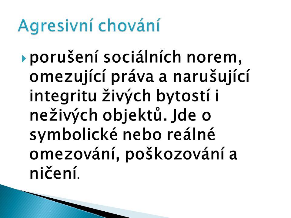  porušení sociálních norem, omezující práva a narušující integritu živých bytostí i neživých objektů. Jde o symbolické nebo reálné omezování, poškozo