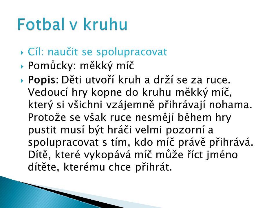 Cíl: naučit se spolupracovat  Pomůcky: měkký míč  Popis: Děti utvoří kruh a drží se za ruce.
