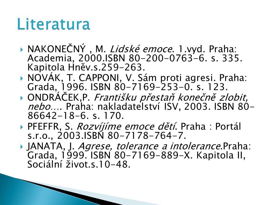  NAKONEČNÝ, M. Lidské emoce. 1.vyd. Praha: Academia, 2000.ISBN 80-200-0763-6. s. 335. Kapitola Hněv.s.259-263.  NOVÁK, T. CAPPONI, V. Sám proti agre