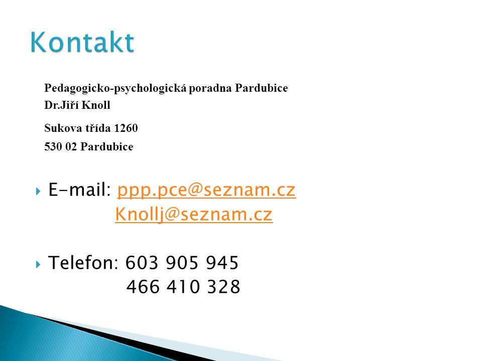 Pedagogicko-psychologická poradna Pardubice Dr.Jiří Knoll Sukova třída 1260 530 02 Pardubice  E-mail: ppp.pce@seznam.czppp.pce@seznam.cz Knollj@seznam.cz  Telefon: 603 905 945 466 410 328