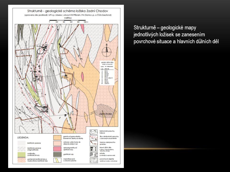 Strukturně – geologické mapy jednotlivých ložisek se zanesením povrchové situace a hlavních důlních děl