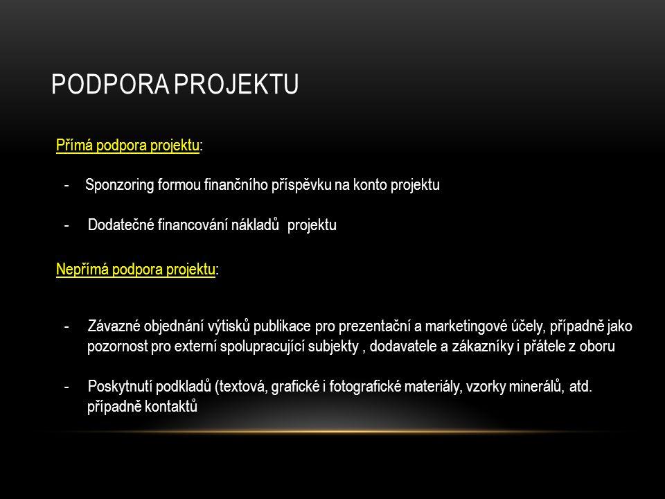PODPORA PROJEKTU Přímá podpora projektu: Nepřímá podpora projektu: - Závazné objednání výtisků publikace pro prezentační a marketingové účely, případn