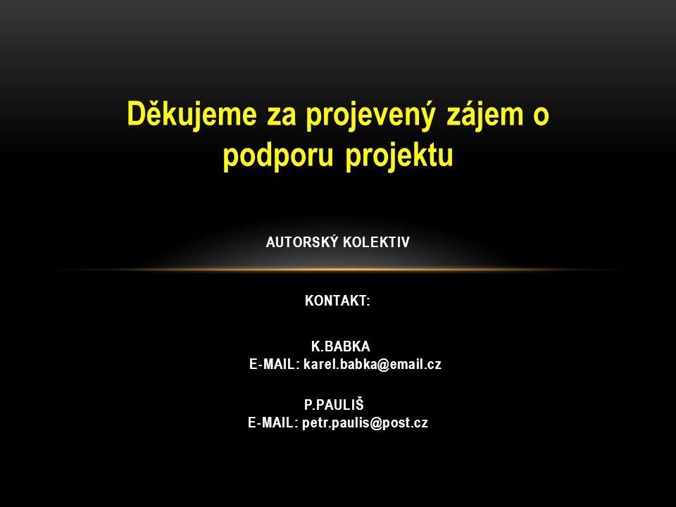Děkujeme za projevený zájem o podporu projektu KONTAKT: P.PAULIŠ E-MAIL: petr.paulis@post.cz K.BABKA E-MAIL: karel.babka@email.cz AUTORSKÝ KOLEKTIV