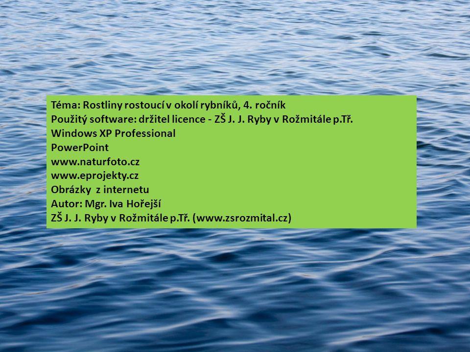 Téma: Rostliny rostoucí v okolí rybníků, 4. ročník Použitý software: držitel licence - ZŠ J. J. Ryby v Rožmitále p.Tř. Windows XP Professional PowerPo