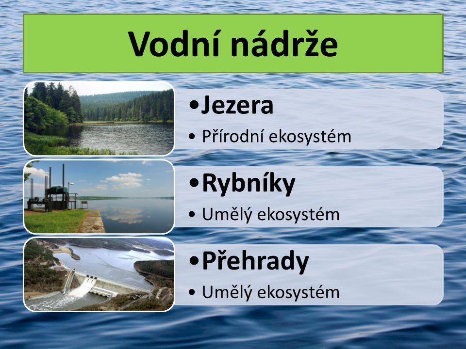 Vodní nádrže •Jezera •Přírodní ekosystém •Rybníky •Umělý ekosystém •Přehrady •Umělý ekosystém