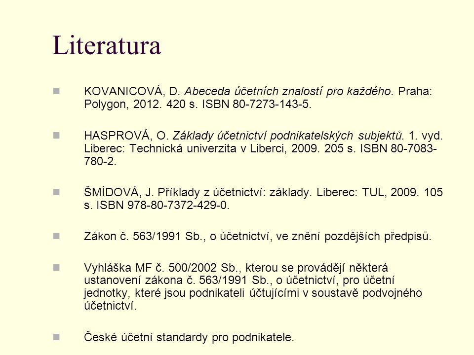 Literatura  KOVANICOVÁ, D. Abeceda účetních znalostí pro každého. Praha: Polygon, 2012. 420 s. ISBN 80-7273-143-5.  HASPROVÁ, O. Základy účetnictví