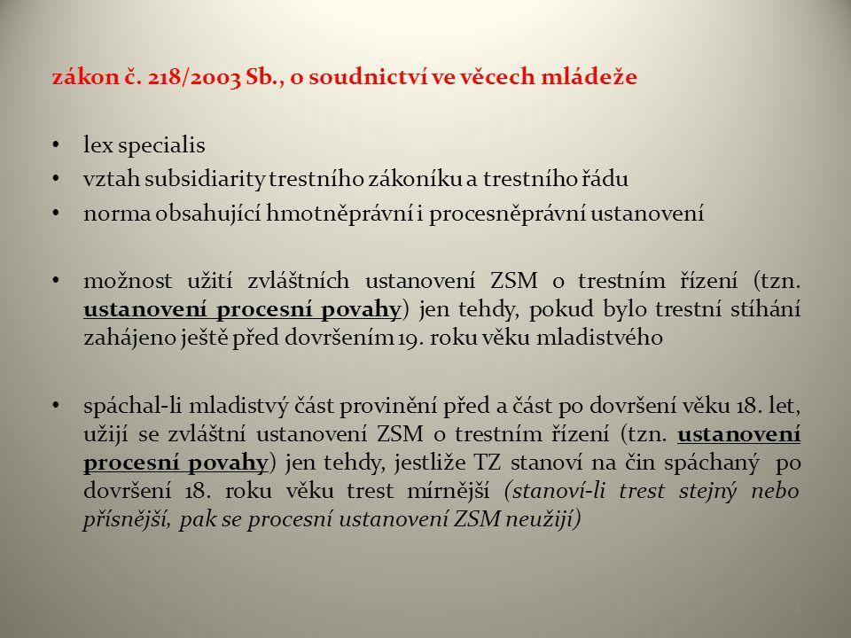 zákon č. 218/2003 Sb., o soudnictví ve věcech mládeže • lex specialis • vztah subsidiarity trestního zákoníku a trestního řádu • norma obsahující hmot
