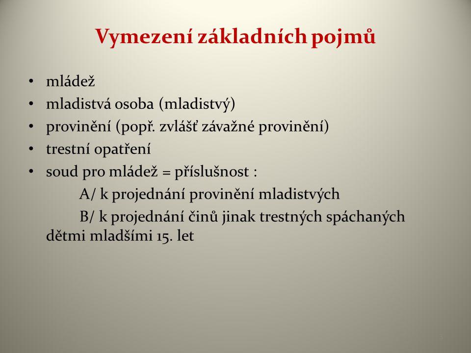Vymezení základních pojmů • mládež • mladistvá osoba (mladistvý) • provinění (popř. zvlášť závažné provinění) • trestní opatření • soud pro mládež = p