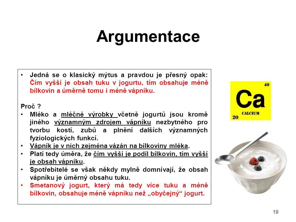 19 •Jedná se o klasický mýtus a pravdou je přesný opak: Čím vyšší je obsah tuku v jogurtu, tím obsahuje méně bílkovin a úměrně tomu i méně vápníku.