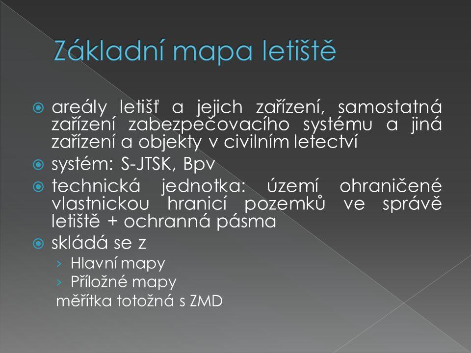  areály letišť a jejich zařízení, samostatná zařízení zabezpečovacího systému a jiná zařízení a objekty v civilním letectví  systém: S-JTSK, Bpv  t