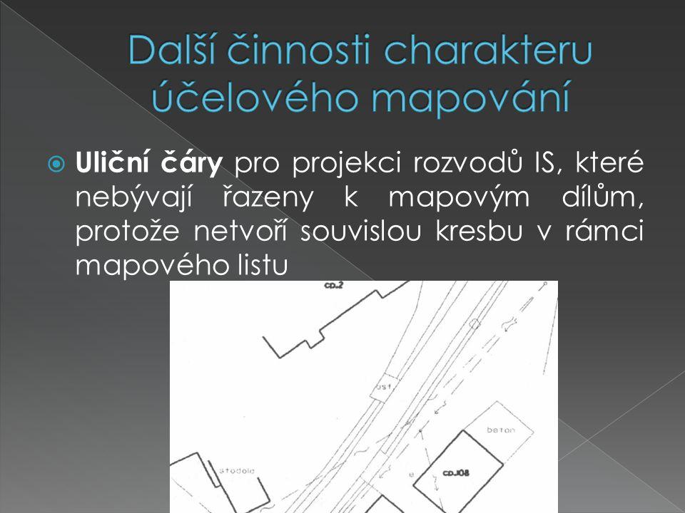  Uliční čáry pro projekci rozvodů IS, které nebývají řazeny k mapovým dílům, protože netvoří souvislou kresbu v rámci mapového listu