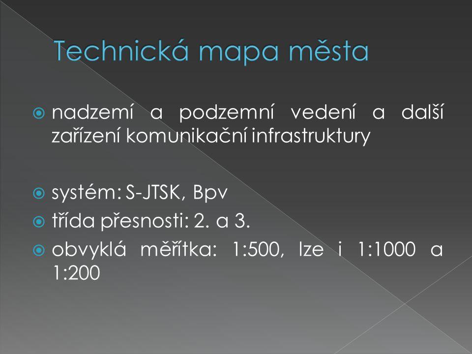  nadzemí a podzemní vedení a další zařízení komunikační infrastruktury  systém: S-JTSK, Bpv  třída přesnosti: 2. a 3.  obvyklá měřítka: 1:500, lze