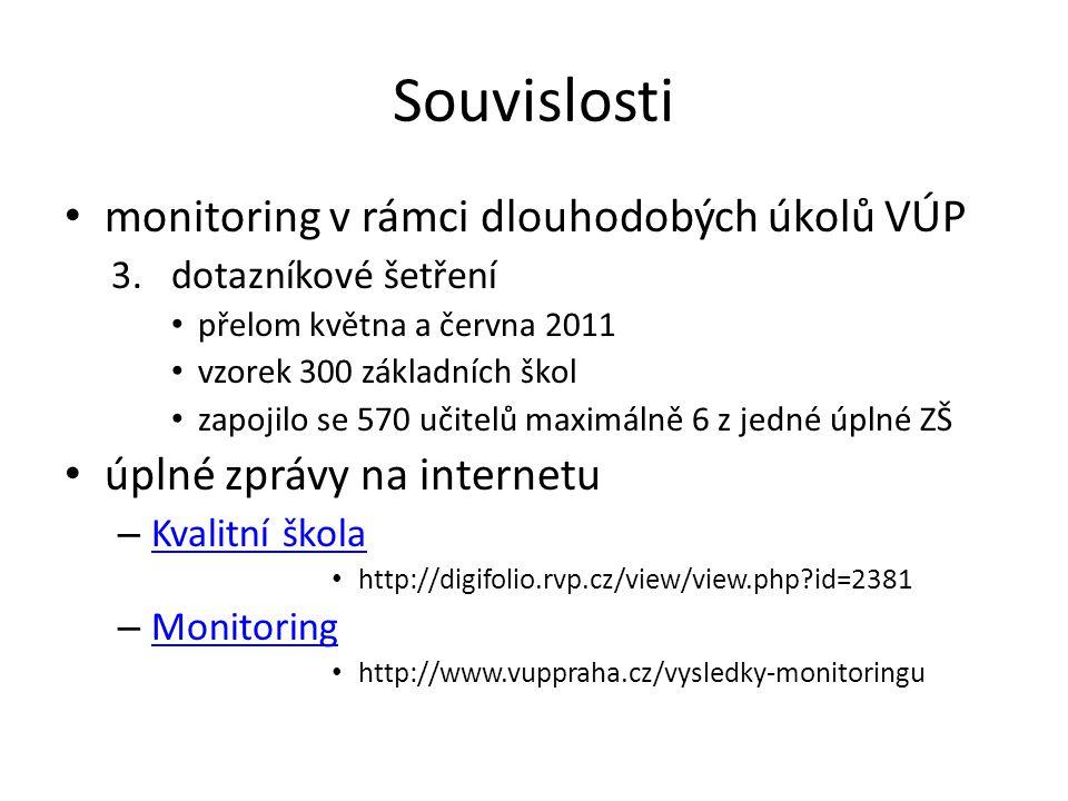 Souvislosti • monitoring v rámci dlouhodobých úkolů VÚP 3.dotazníkové šetření • přelom května a června 2011 • vzorek 300 základních škol • zapojilo se 570 učitelů maximálně 6 z jedné úplné ZŠ • úplné zprávy na internetu – Kvalitní škola Kvalitní škola • http://digifolio.rvp.cz/view/view.php id=2381 – Monitoring Monitoring • http://www.vuppraha.cz/vysledky-monitoringu