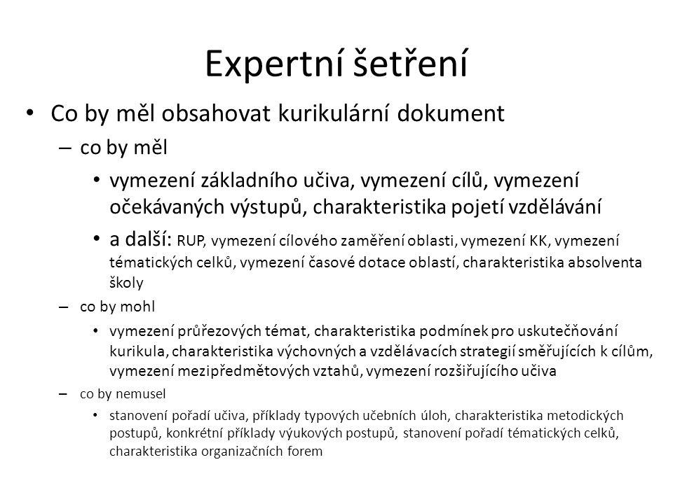 Expertní šetření • Jaký by měl být ideální dokument.