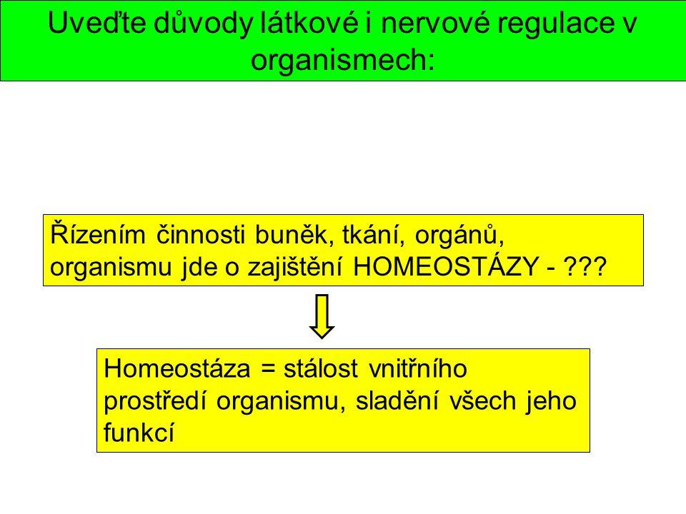 Uveďte důvody látkové i nervové regulace v organismech: Řízením činnosti buněk, tkání, orgánů, organismu jde o zajištění HOMEOSTÁZY - ??? Homeostáza =
