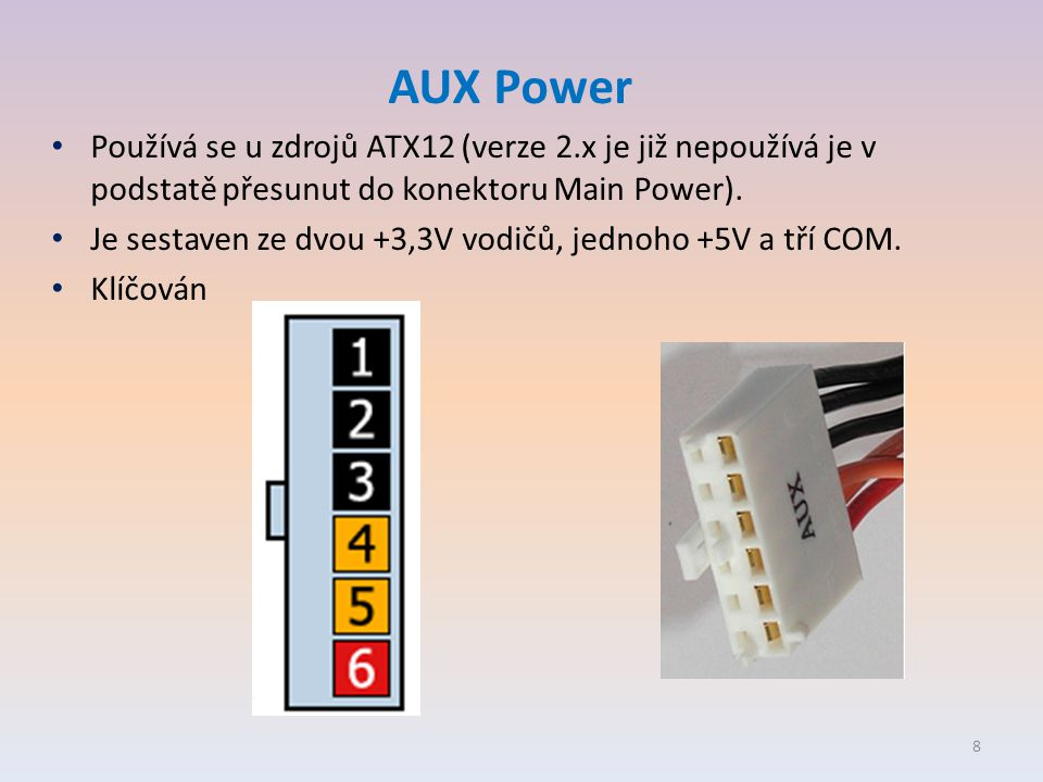 AUX Power • Používá se u zdrojů ATX12 (verze 2.x je již nepoužívá je v podstatě přesunut do konektoru Main Power). • Je sestaven ze dvou +3,3V vodičů,