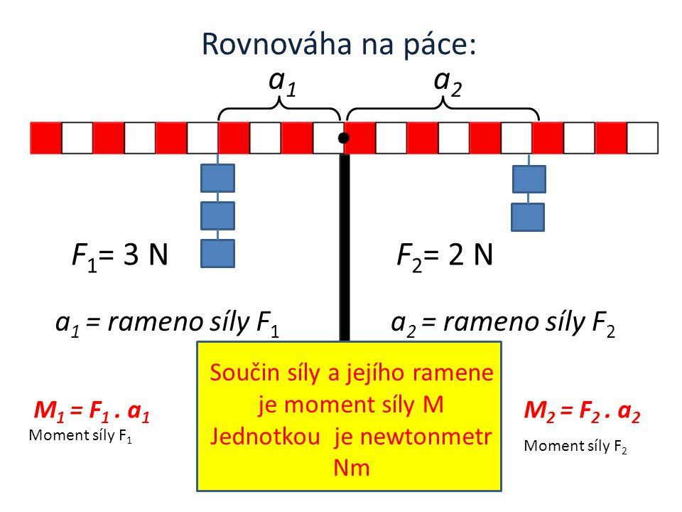 Rovnováha na páce: F 1 = 3 NF 2 = 2 N a1a1 a2a2 a 1 = rameno síly F 1 a 2 = rameno síly F 2 Součin síly a jejího ramene je moment síly M Jednotkou je newtonmetr Nm M 1 = F 1.