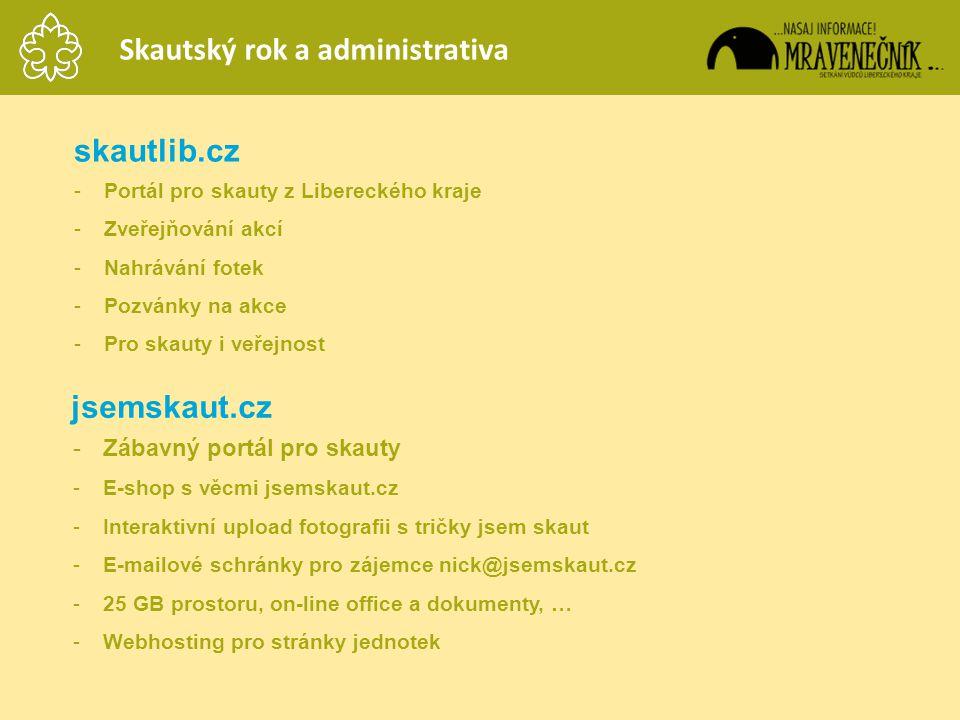 Skautský rok a administrativa skautlib.cz -Portál pro skauty z Libereckého kraje -Zveřejňování akcí -Nahrávání fotek -Pozvánky na akce -Pro skauty i v