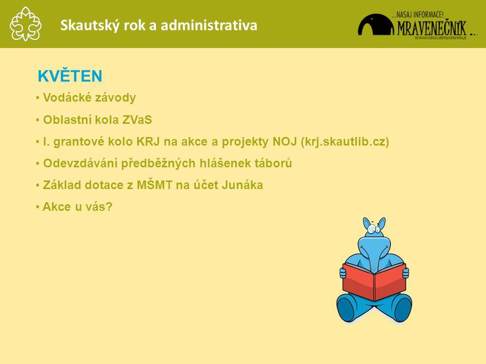 KVĚTEN • Vodácké závody • Oblastní kola ZVaS • I. grantové kolo KRJ na akce a projekty NOJ (krj.skautlib.cz) • Odevzdávání předběžných hlášenek táborů