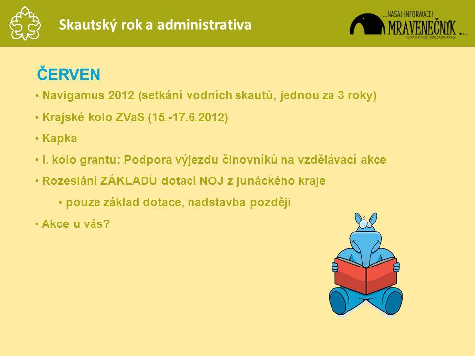 ČERVEN • Navigamus 2012 (setkání vodních skautů, jednou za 3 roky) • Krajské kolo ZVaS (15.-17.6.2012) • Kapka • I. kolo grantu: Podpora výjezdu činov