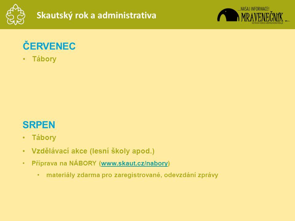 ČERVENEC •Tábory SRPEN •Tábory •Vzdělávací akce (lesní školy apod.) •Příprava na NÁBORY (www.skaut.cz/nabory)www.skaut.cz/nabory •materiály zdarma pro