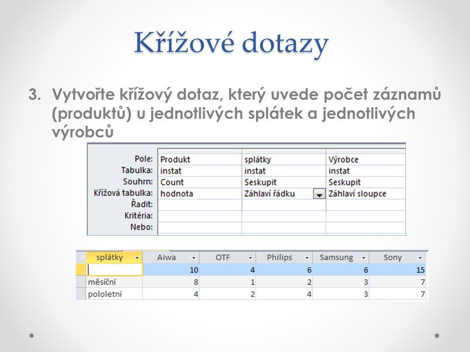Křížové dotazy 3. Vytvořte křížový dotaz, který uvede počet záznamů (produktů) u jednotlivých splátek a jednotlivých výrobců