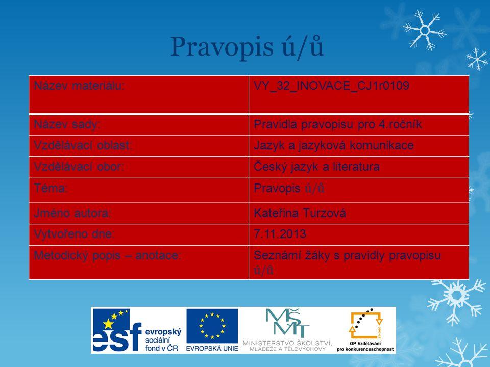 Pravopis ú/ů Název materiálu:VY_32_INOVACE_CJ1r0109 Název sady:Pravidla pravopisu pro 4.ročník Vzdělávací oblast:Jazyk a jazyková komunikace Vzdělávac