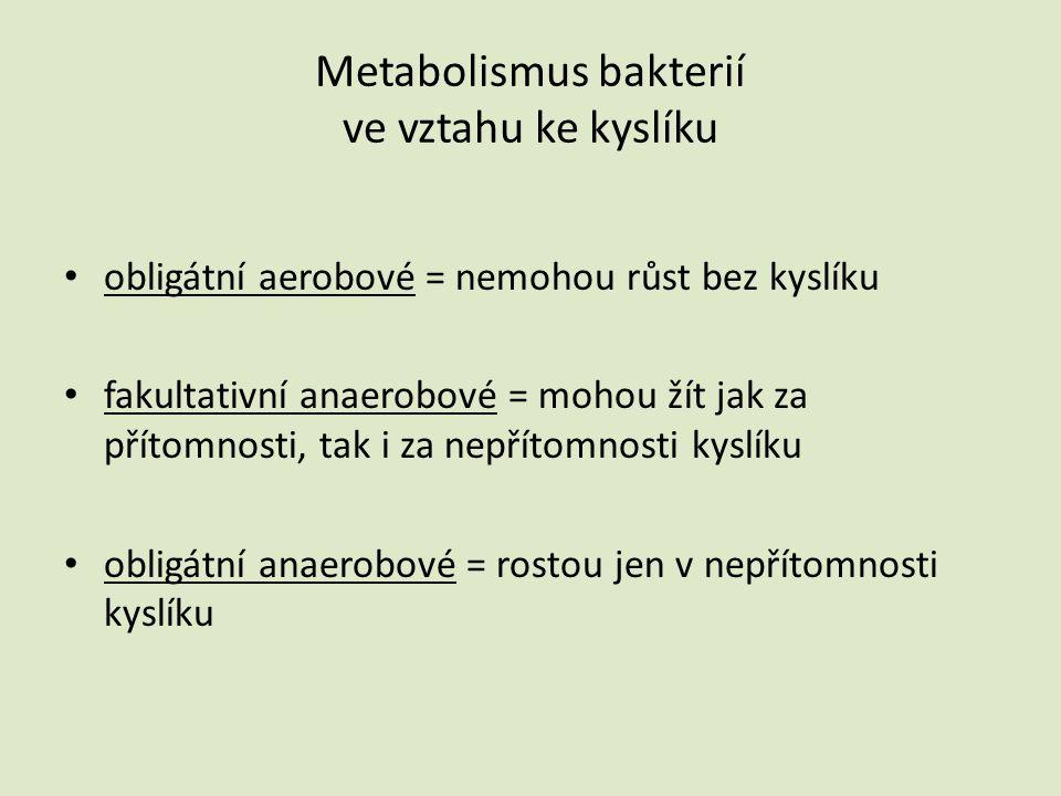 Metabolismus bakterií ve vztahu ke kyslíku • obligátní aerobové = nemohou růst bez kyslíku • fakultativní anaerobové = mohou žít jak za přítomnosti, t