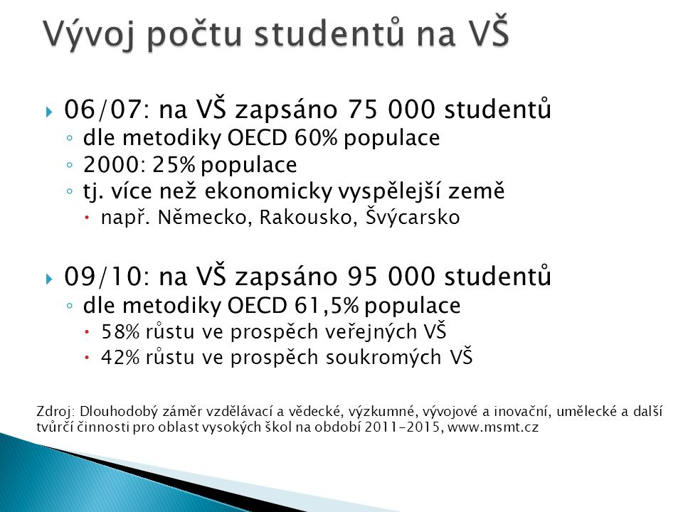  06/07: na VŠ zapsáno 75 000 studentů ◦ dle metodiky OECD 60% populace ◦ 2000: 25% populace ◦ tj. více než ekonomicky vyspělejší země  např. Německo