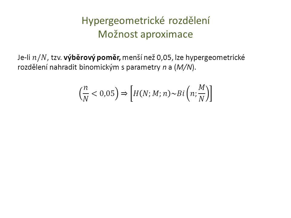 Hypergeometrické rozdělení Možnost aproximace