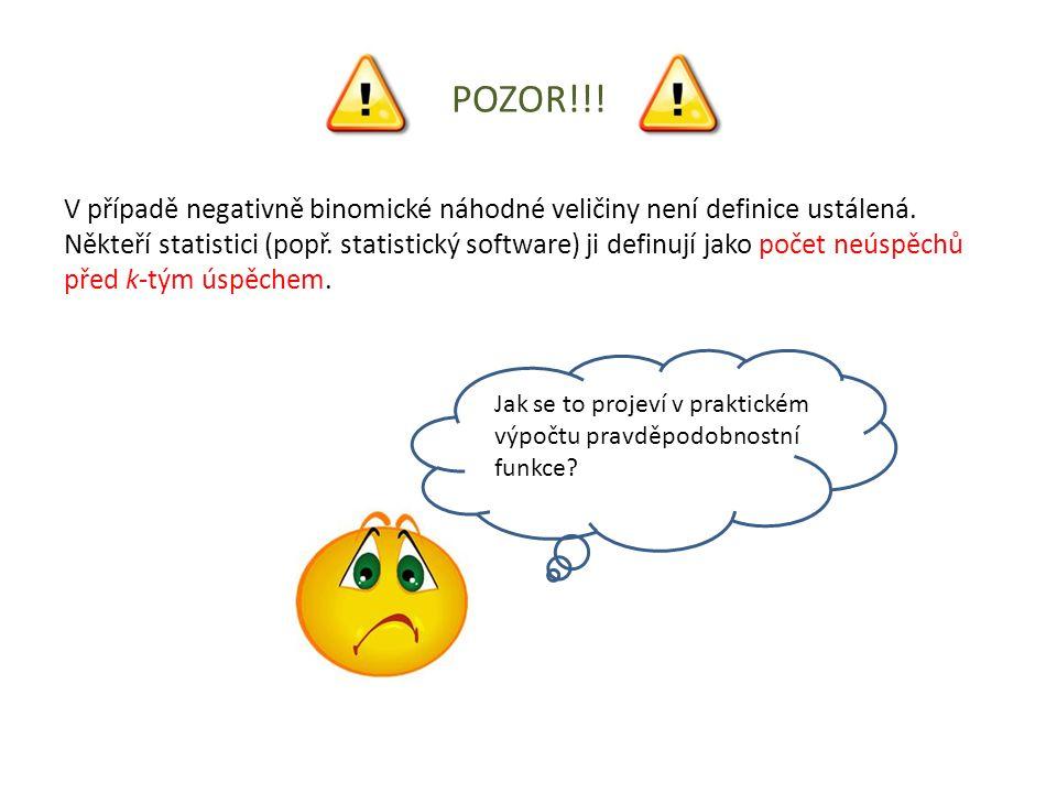 POZOR!!! V případě negativně binomické náhodné veličiny není definice ustálená. Někteří statistici (popř. statistický software) ji definují jako počet