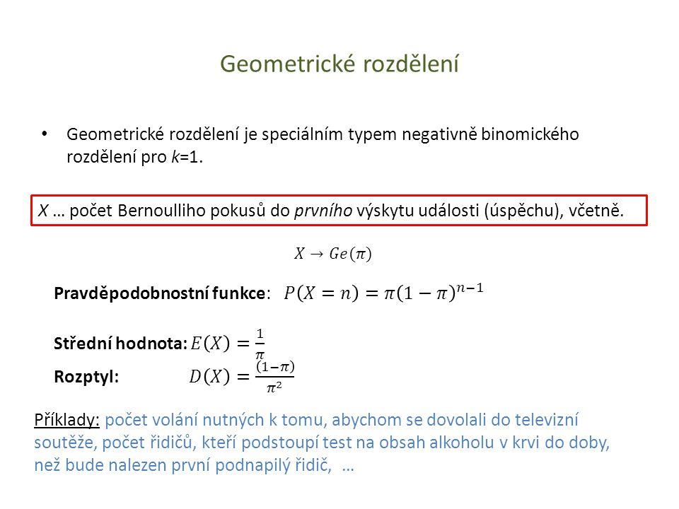 Geometrické rozdělení • Geometrické rozdělení je speciálním typem negativně binomického rozdělení pro k=1. X … počet Bernoulliho pokusů do prvního výs