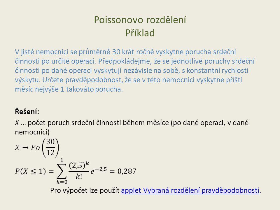 Poissonovo rozdělení Příklad