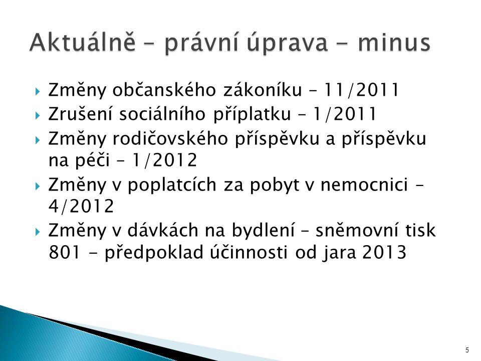  Změny občanského zákoníku – 11/2011  Zrušení sociálního příplatku – 1/2011  Změny rodičovského příspěvku a příspěvku na péči – 1/2012  Změny v po