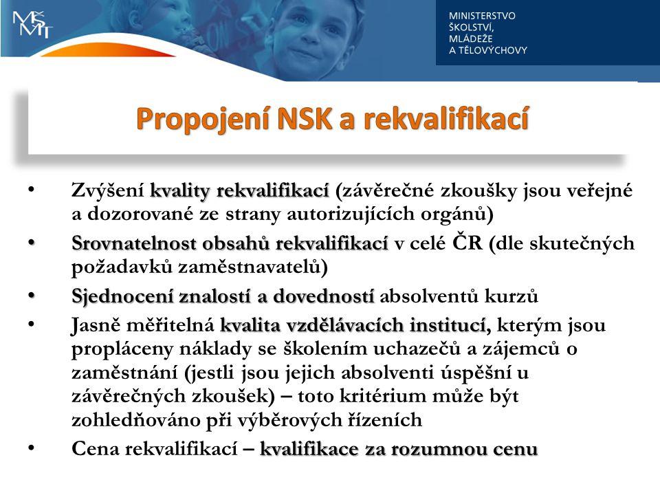 kvality rekvalifikací • Zvýšení kvality rekvalifikací (závěrečné zkoušky jsou veřejné a dozorované ze strany autorizujících orgánů) • Srovnatelnostobsahů rekvalifikací • Srovnatelnost obsahů rekvalifikací v celé ČR (dle skutečných požadavků zaměstnavatelů) • Sjednocení znalostí a dovedností • Sjednocení znalostí a dovedností absolventů kurzů kvalita vzdělávacích institucí • Jasně měřitelná kvalita vzdělávacích institucí, kterým jsou propláceny náklady se školením uchazečů a zájemců o zaměstnání (jestli jsou jejich absolventi úspěšní u závěrečných zkoušek) – toto kritérium může být zohledňováno při výběrových řízeních kvalifikace za rozumnou cenu • Cena rekvalifikací – kvalifikace za rozumnou cenu