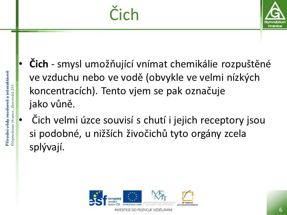 Přírodní vědy moderně a interaktivně ©Gymnázium Hranice, Zborovská 293 Čich • Čich - smysl umožňující vnímat chemikálie rozpuštěné ve vzduchu nebo ve