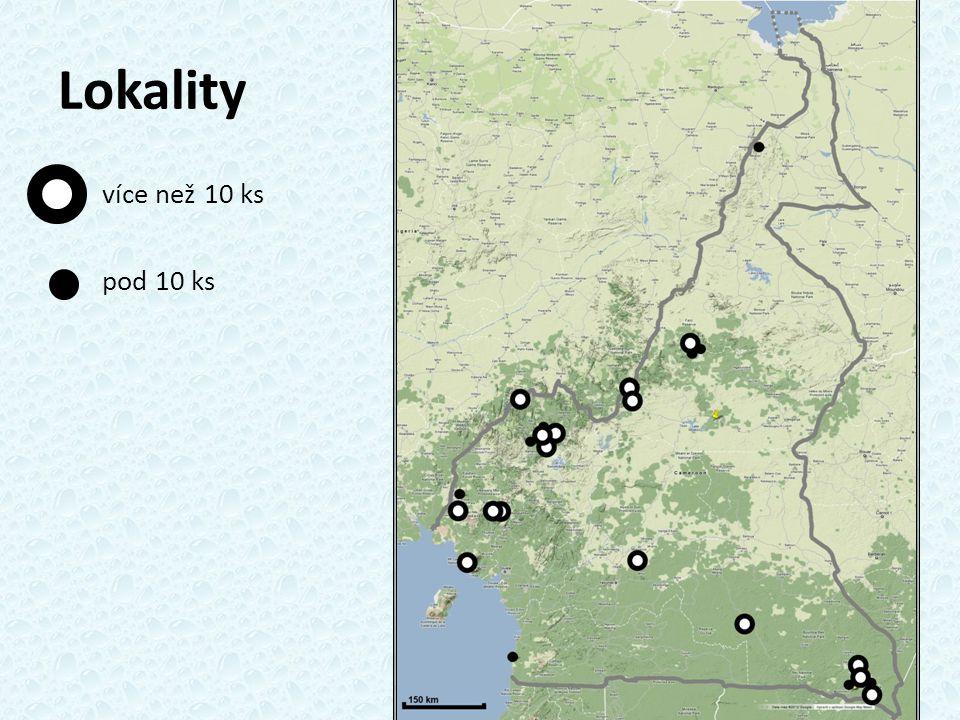 Lokality více než 10 ks pod 10 ks