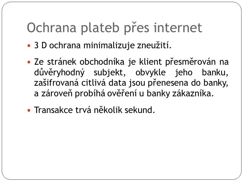 Ochrana plateb přes internet  3 D ochrana minimalizuje zneužití.